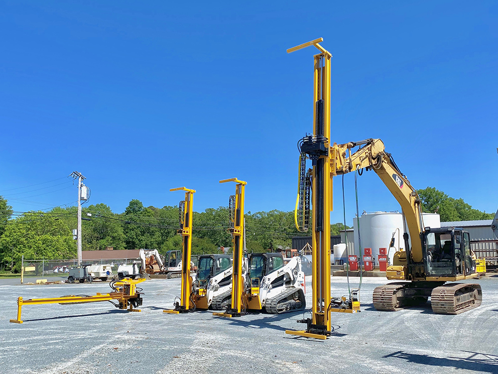 Skid Steer and Excavator Rock Drill Attachments by Hammer Drilling Rigs
